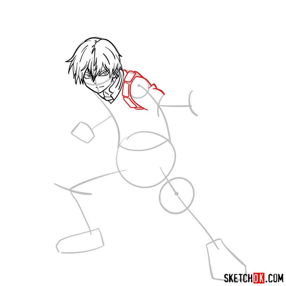 How to draw Shoto Todoroki in action pose - step 08