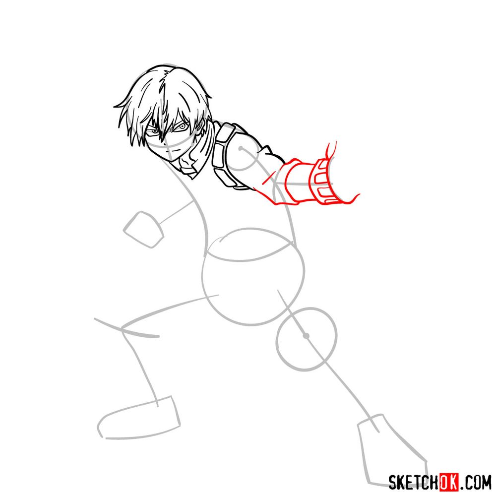 How to draw Shoto Todoroki in action pose - step 09
