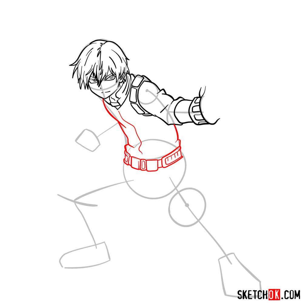 How to draw Shoto Todoroki in action pose - step 10