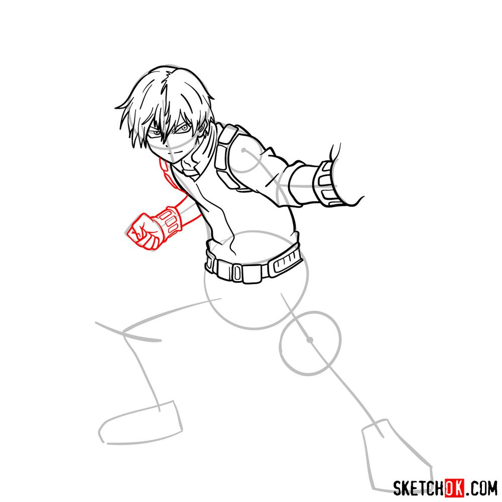 How to draw Shoto Todoroki in action pose - step 11