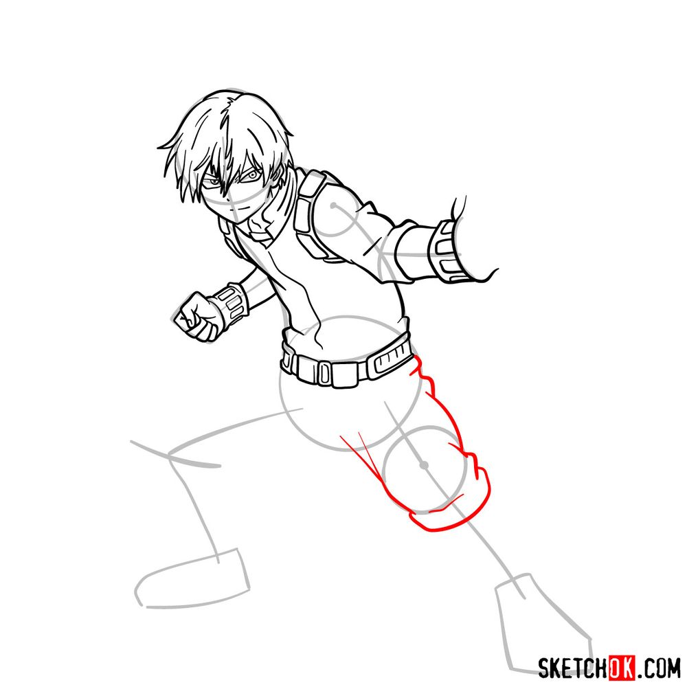 How to draw Shoto Todoroki in action pose - step 12