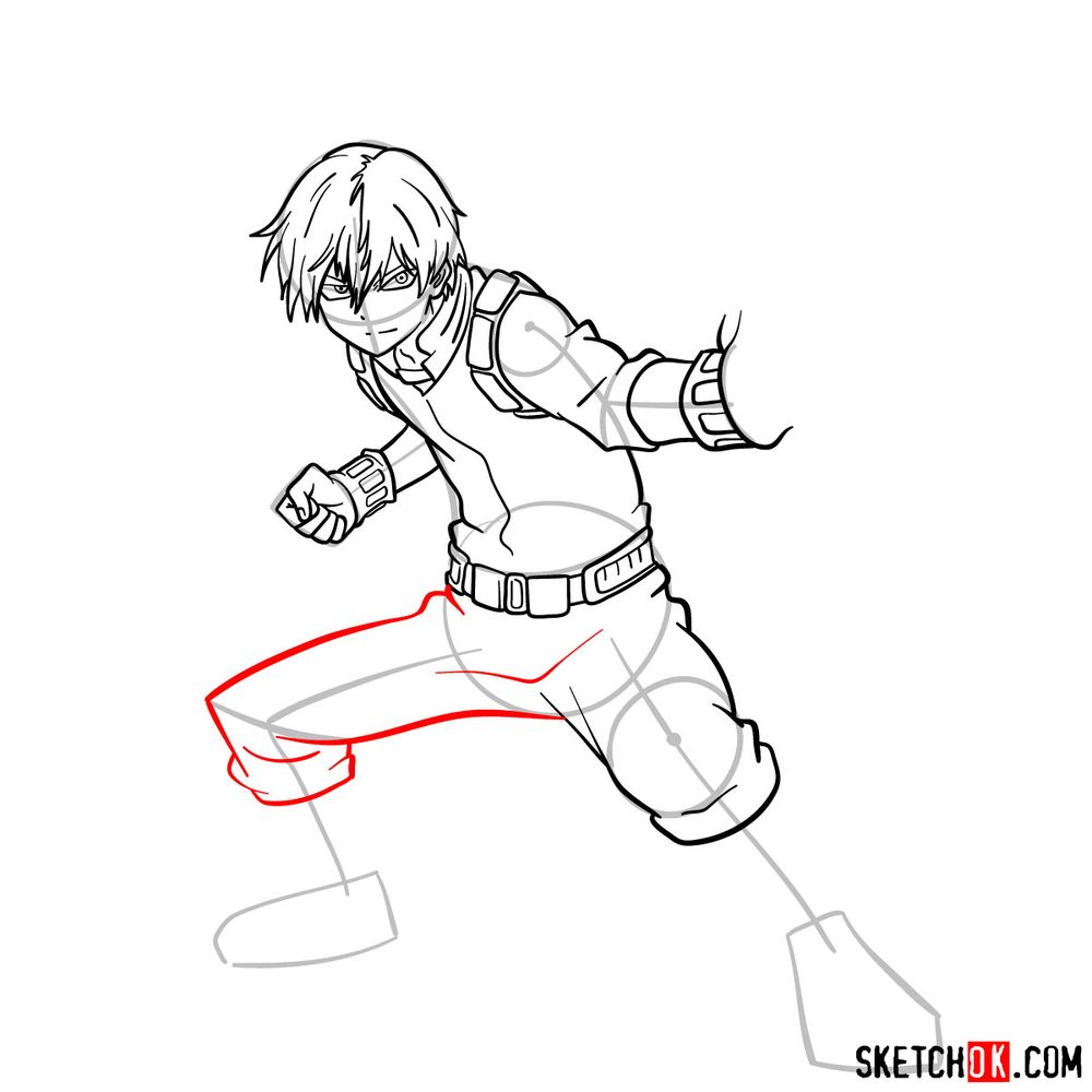 How to draw Shoto Todoroki in action pose - step 13