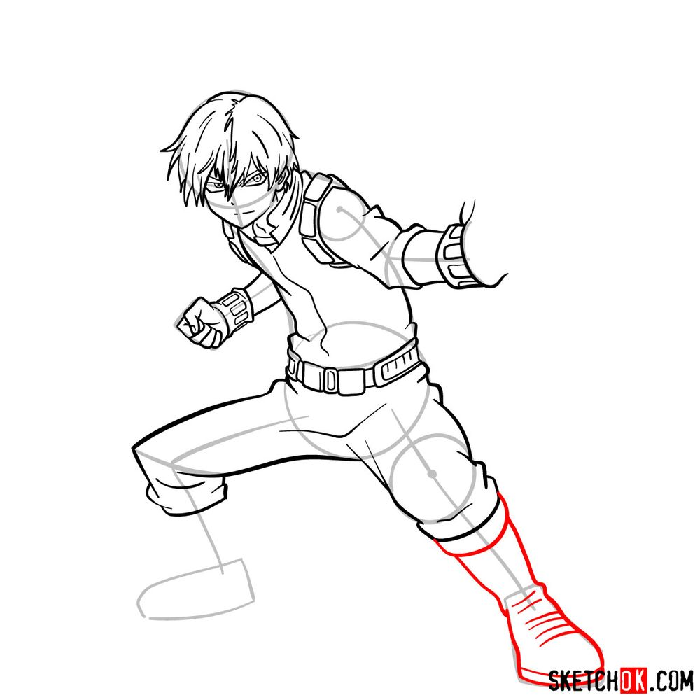 How to draw Shoto Todoroki in action pose - step 14