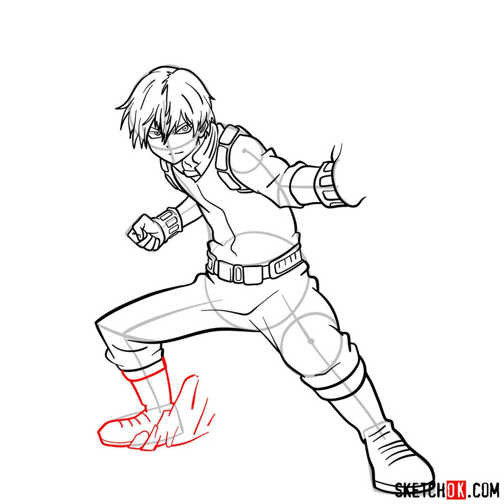 How to draw Shoto Todoroki in action pose - step 15