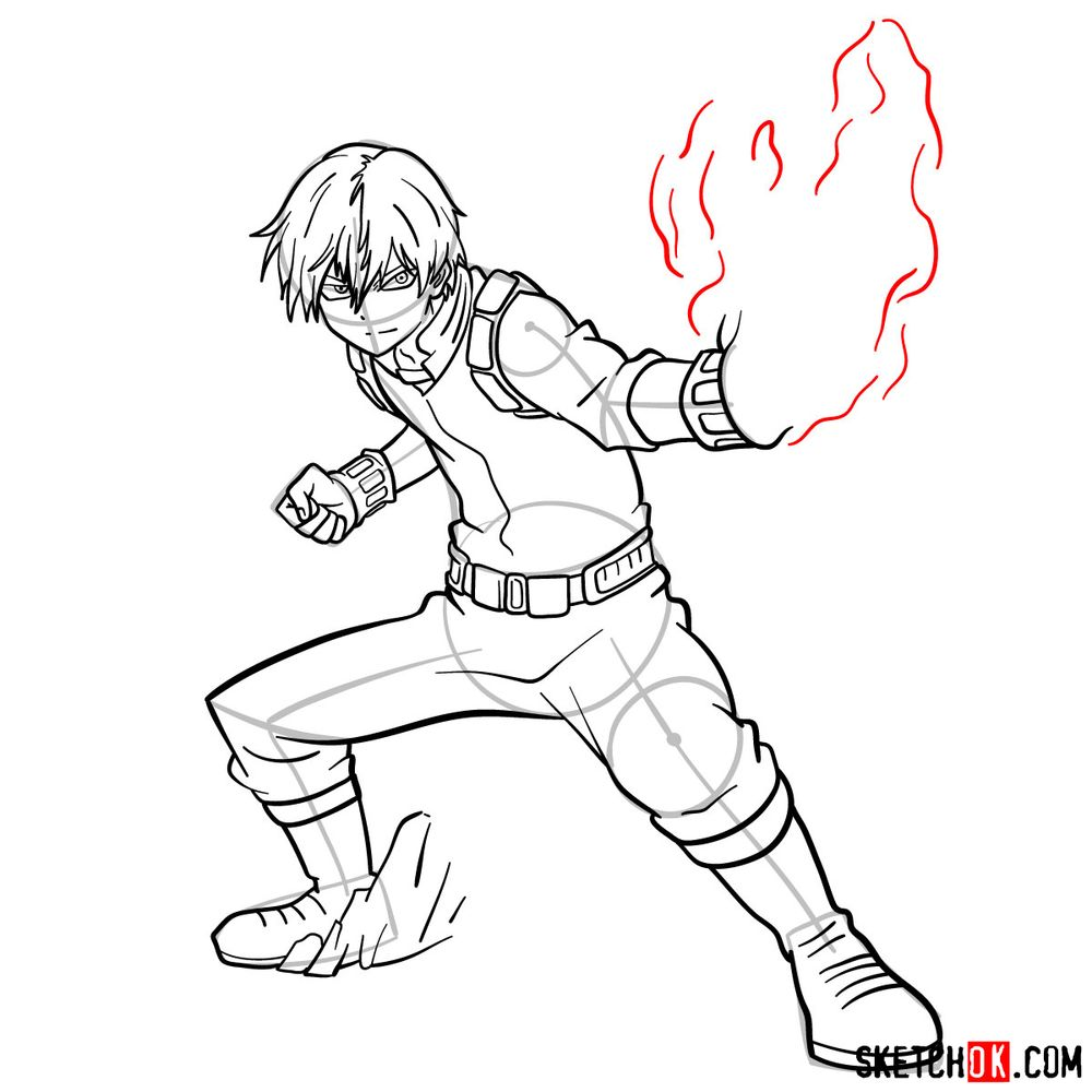How to draw Shoto Todoroki in action pose - step 16
