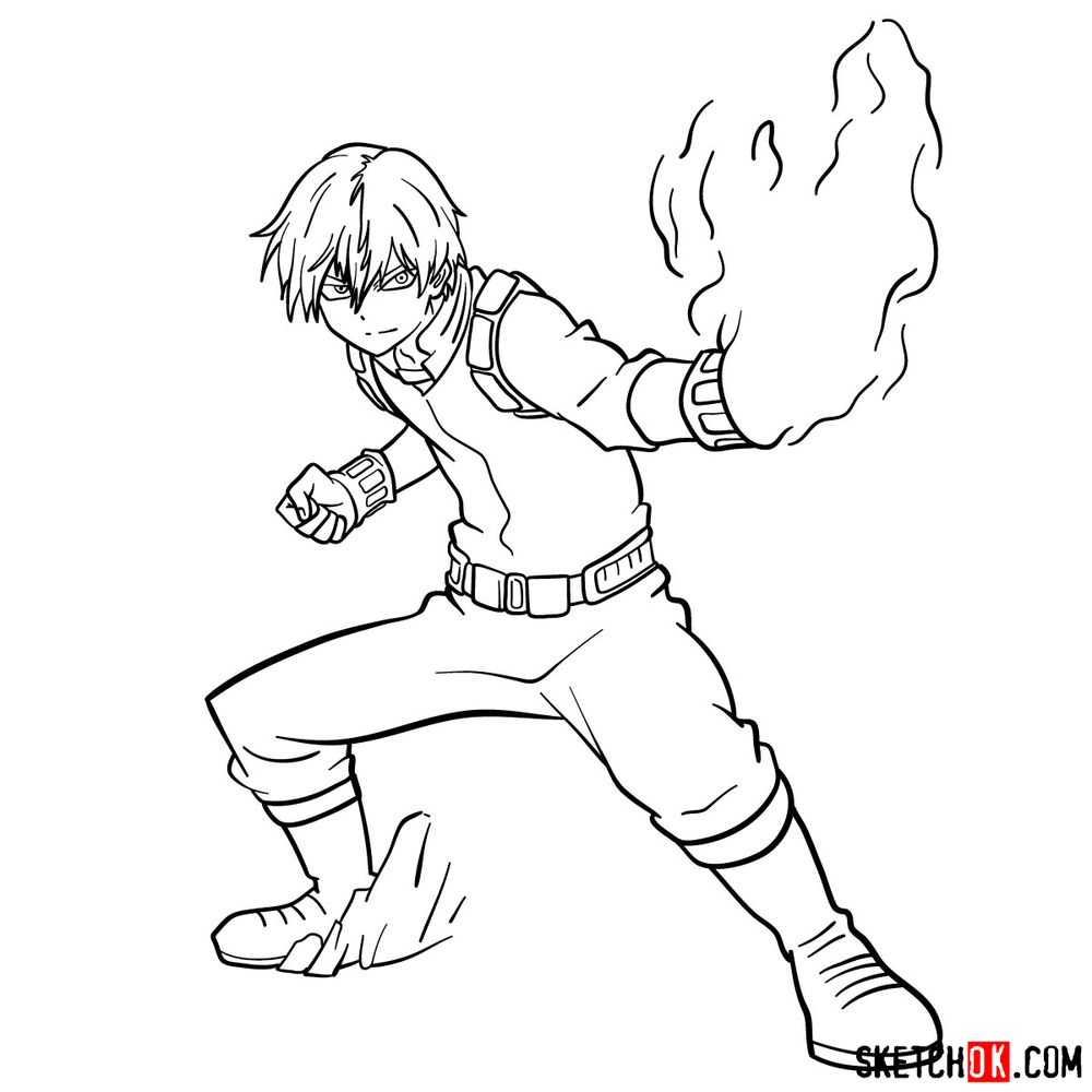 How to draw Shoto Todoroki in action pose - step 17