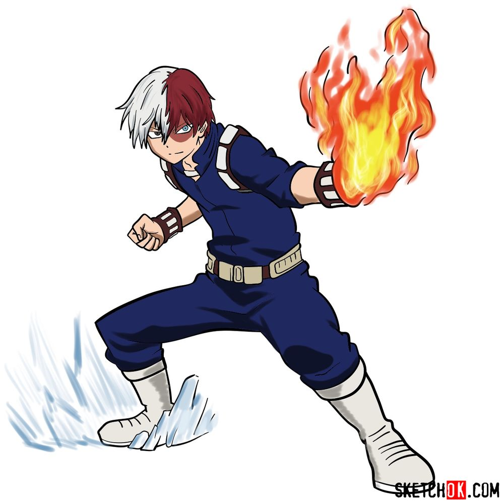 How to draw Shoto Todoroki in action pose
