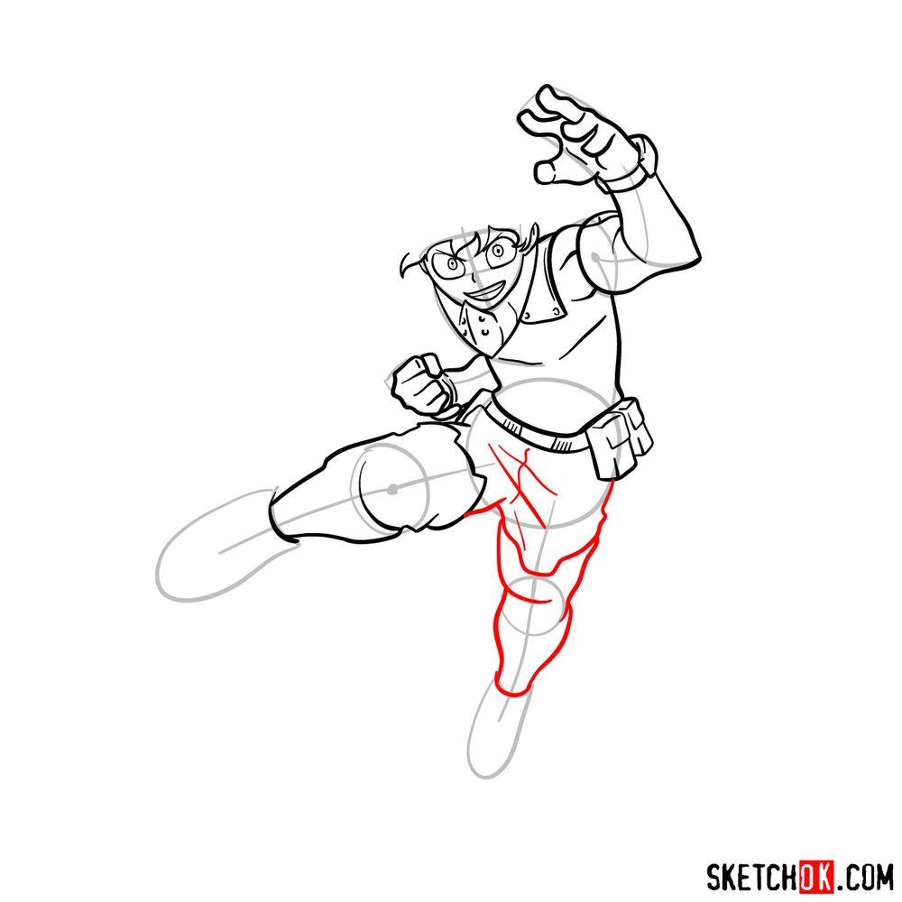 How to draw Izuku Midoriya in his Hero Costume - step 11