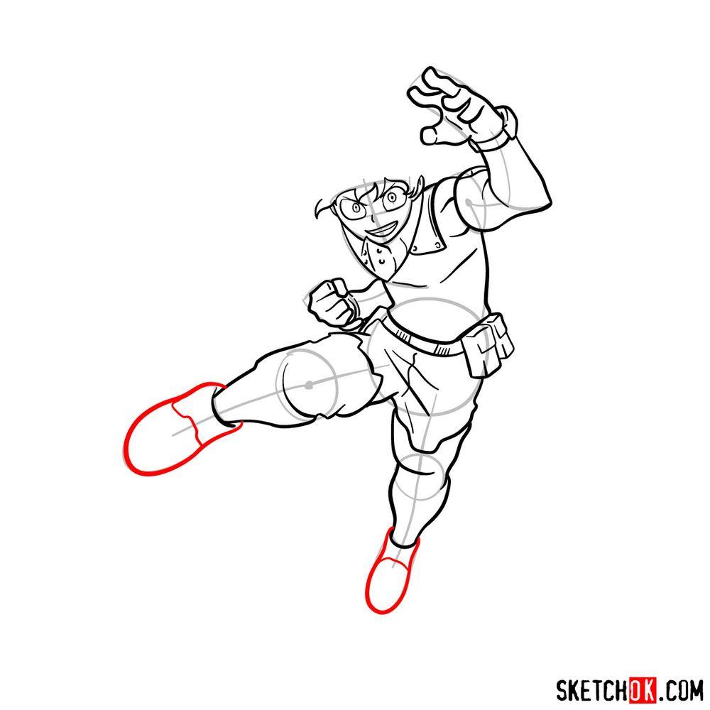 How to draw Izuku Midoriya in his Hero Costume - step 12