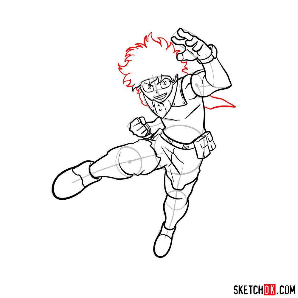 How to draw Izuku Midoriya in his Hero Costume - step 13