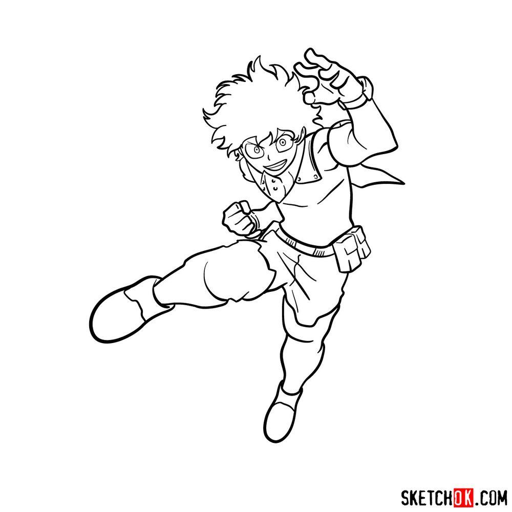 How to draw Izuku Midoriya in his Hero Costume - step 14