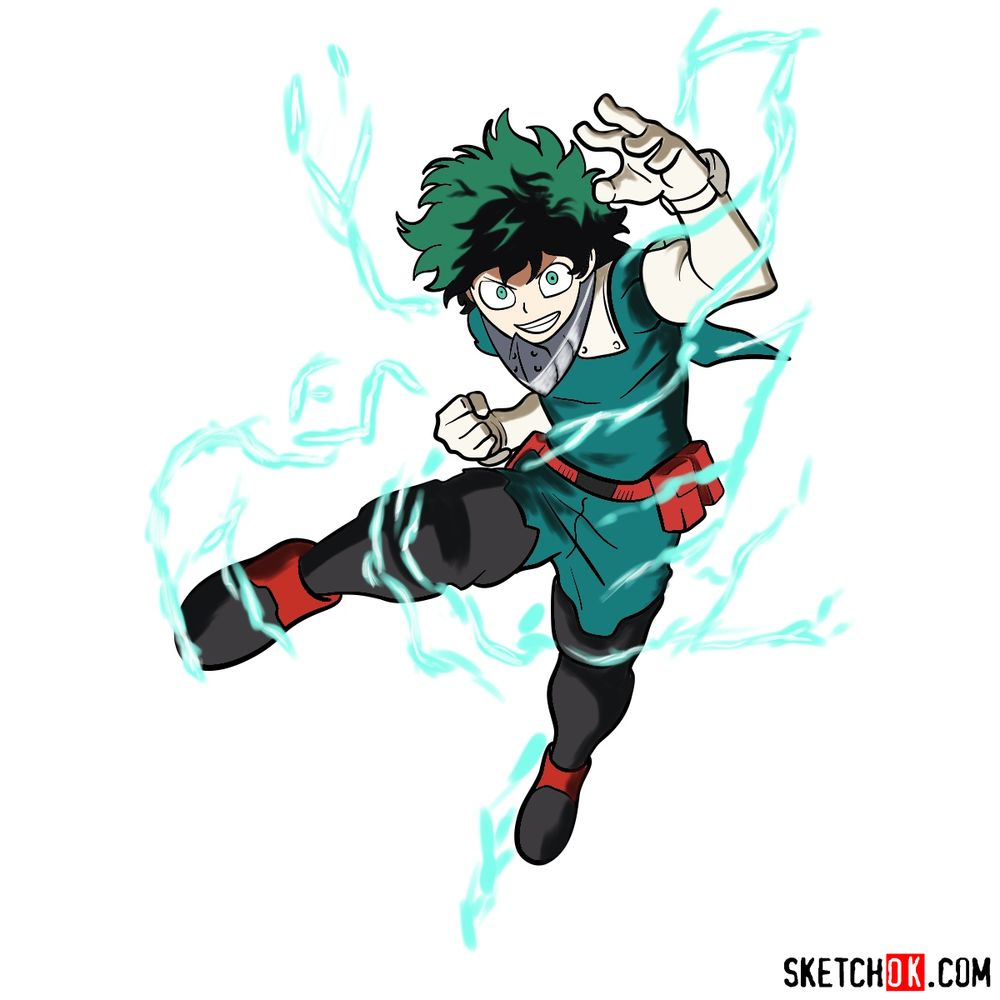 How to draw Izuku Midoriya in his Hero Costume