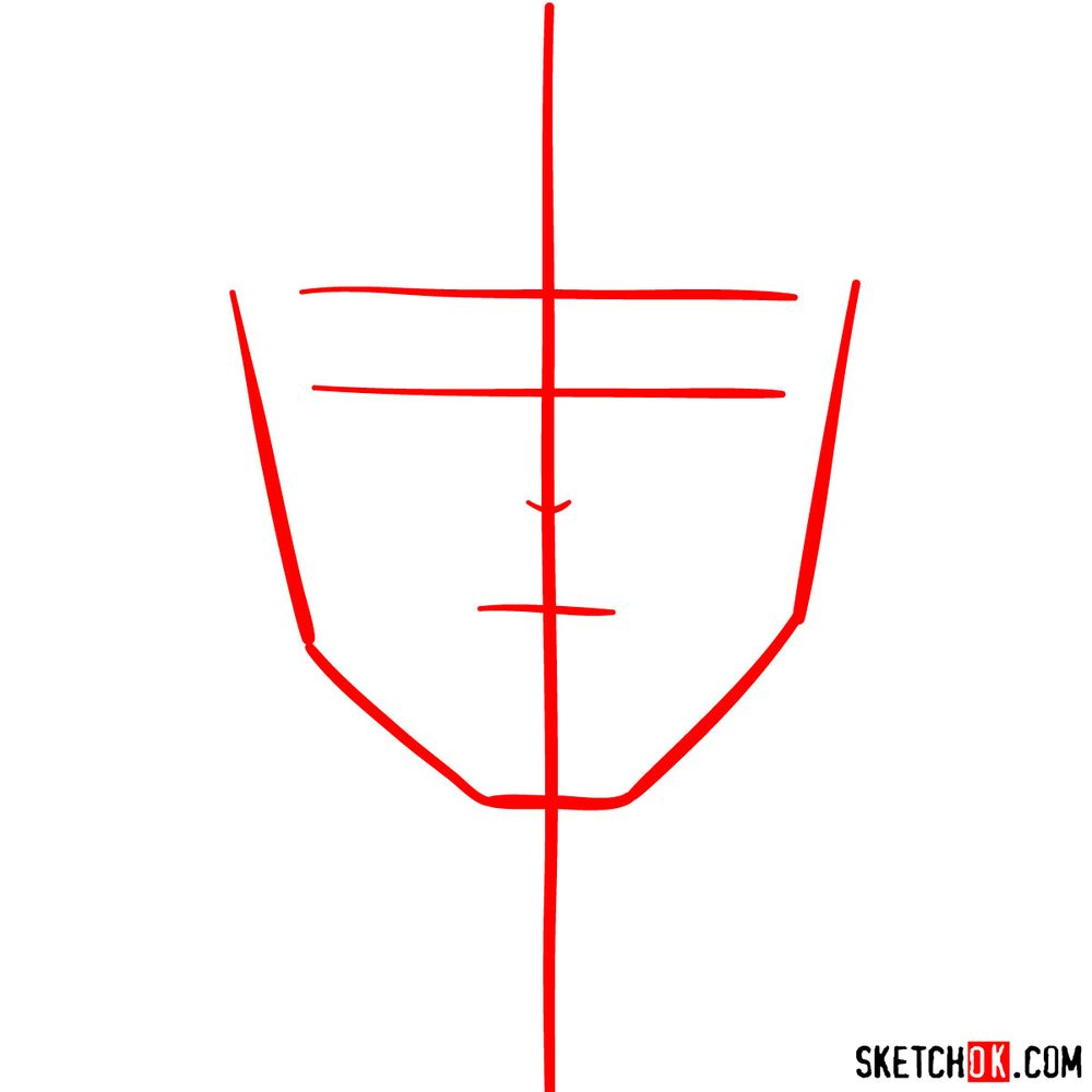 How to draw Tenya Ida's face - step 01