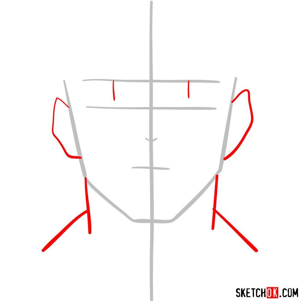 How to draw Tenya Ida's face - step 02