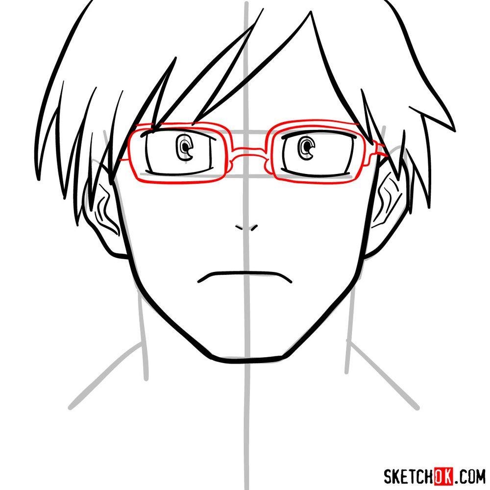 How to draw Tenya Ida's face - step 08
