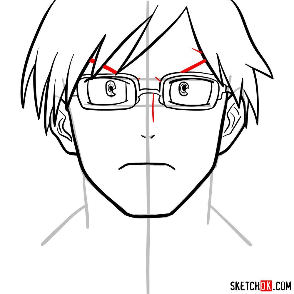 How to draw Tenya Ida's face - step 09