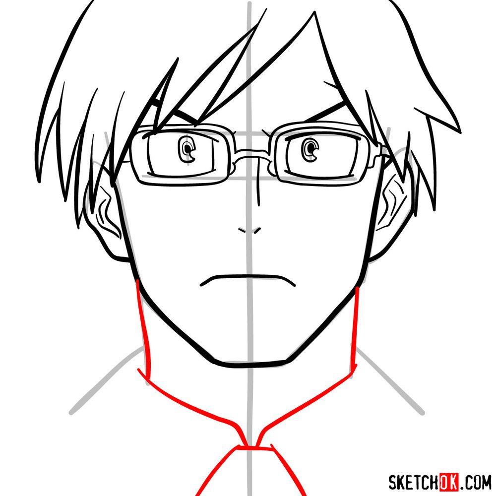 How to draw Tenya Ida's face - step 10
