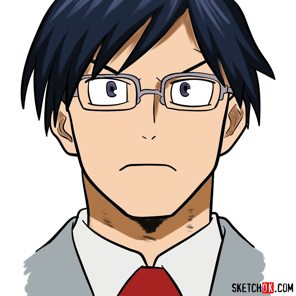 How to draw Tenya Ida's face