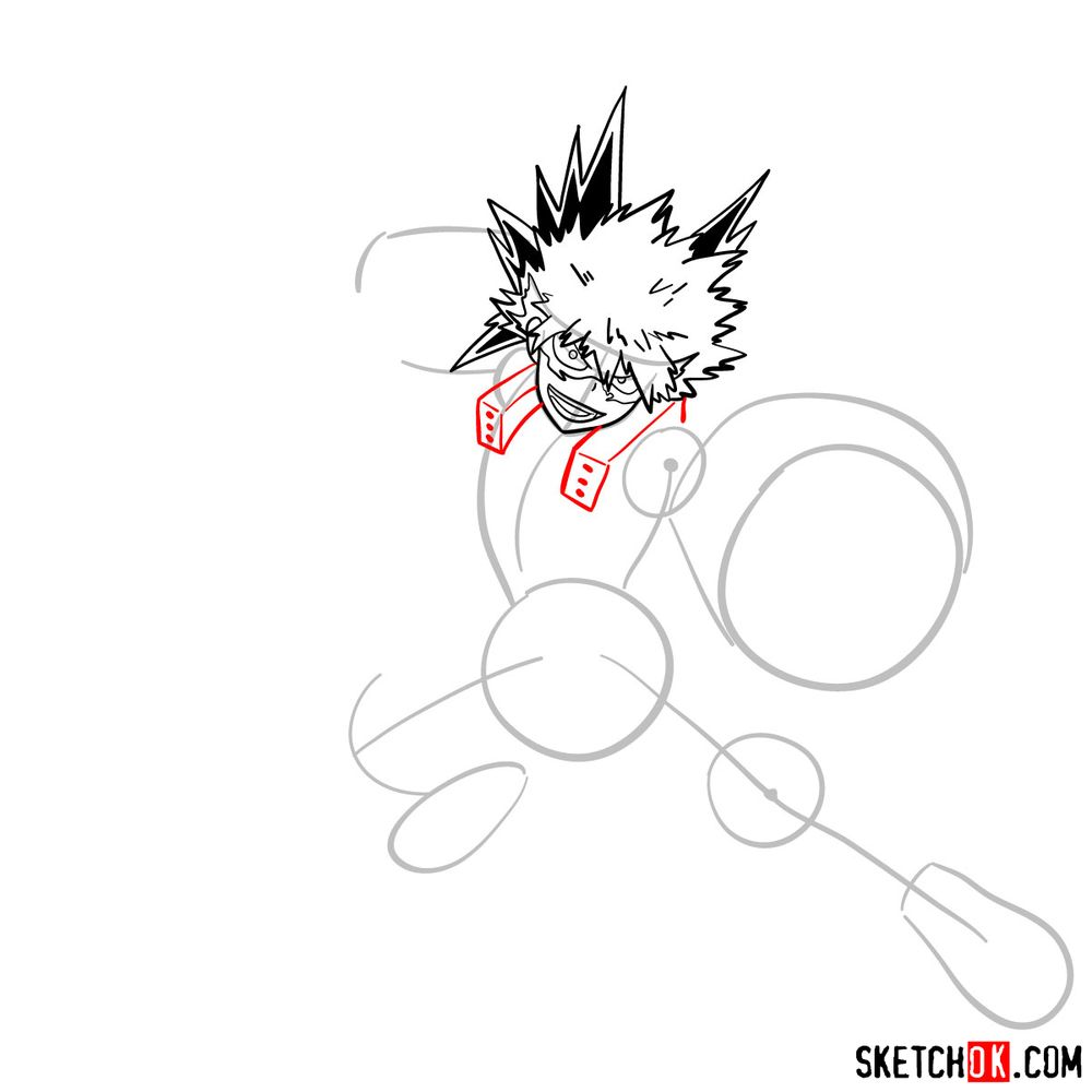 How to draw Katsuki Bakugo in action pose - step 09
