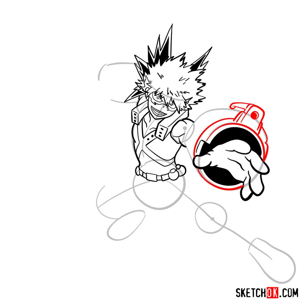 How to draw Katsuki Bakugo in action pose - step 13