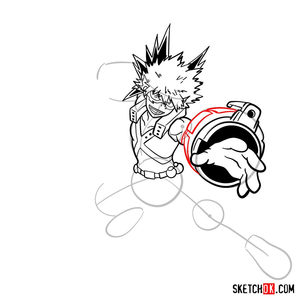 How to draw Katsuki Bakugo in action pose - step 14