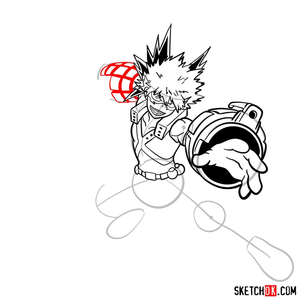 How to draw Katsuki Bakugo in action pose - step 15