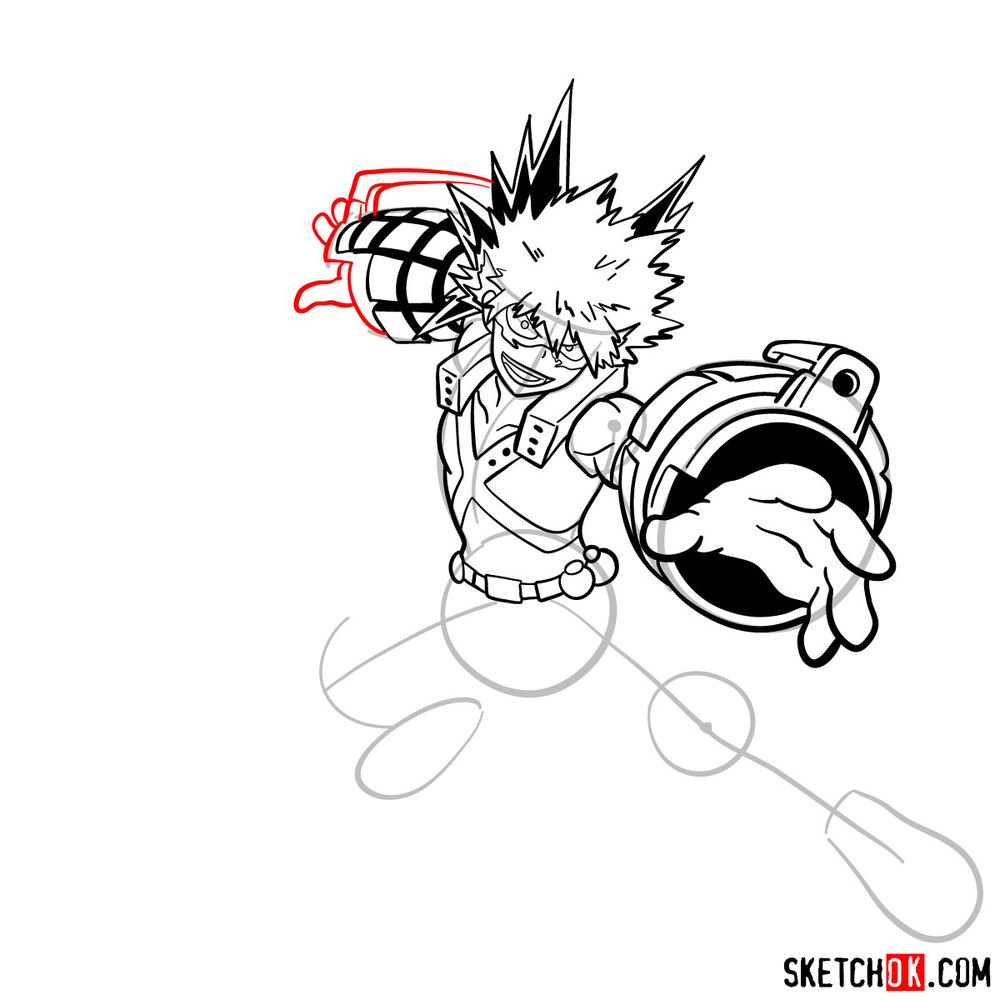 How to draw Katsuki Bakugo in action pose - step 16