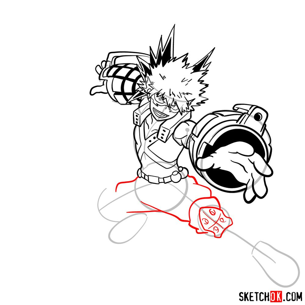 How to draw Katsuki Bakugo in action pose - step 17