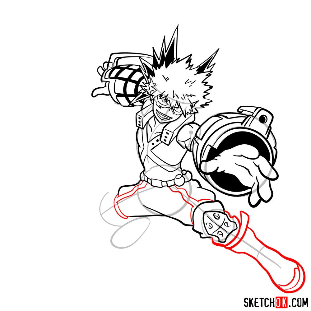How to draw Katsuki Bakugo in action pose - step 18