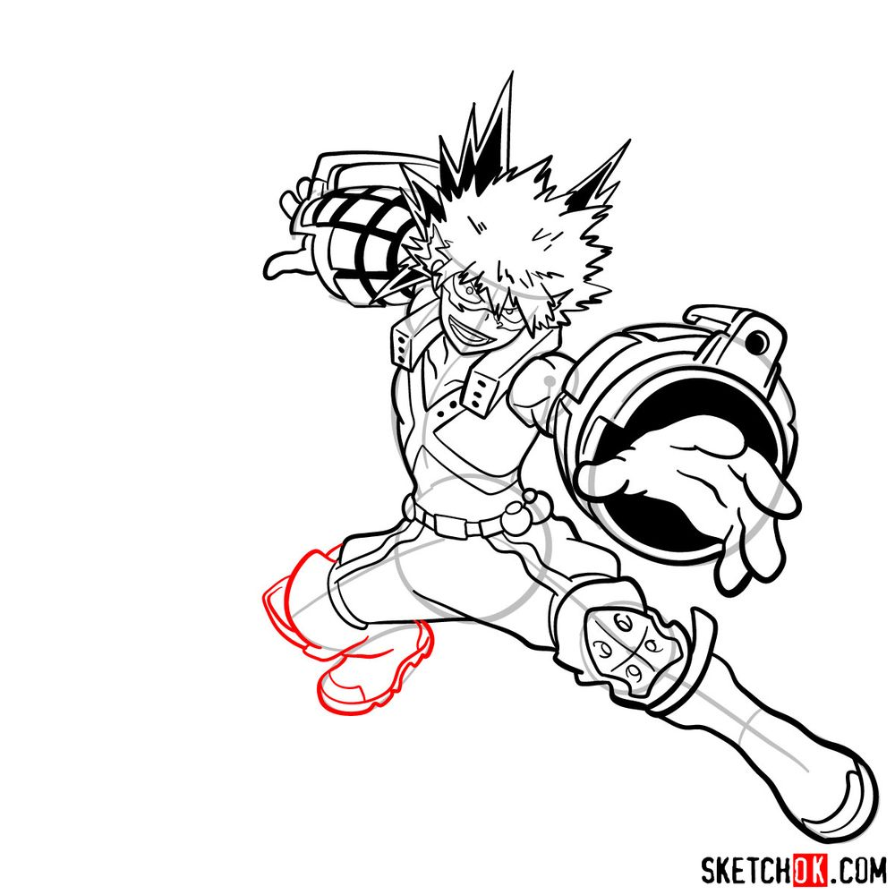 How to draw Katsuki Bakugo in action pose - step 19
