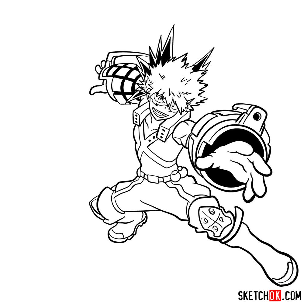 How to draw Katsuki Bakugo in action pose - step 20
