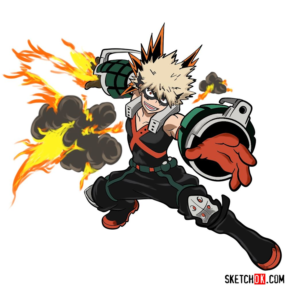 How to draw Katsuki Bakugo in action pose