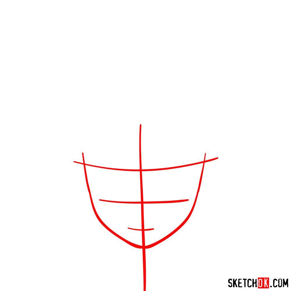 How to draw Deku's face - step 01