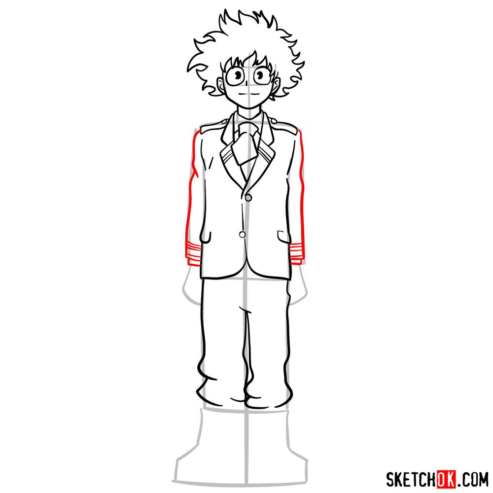 How to draw Izuku Midoriya in a student uniform - step 10