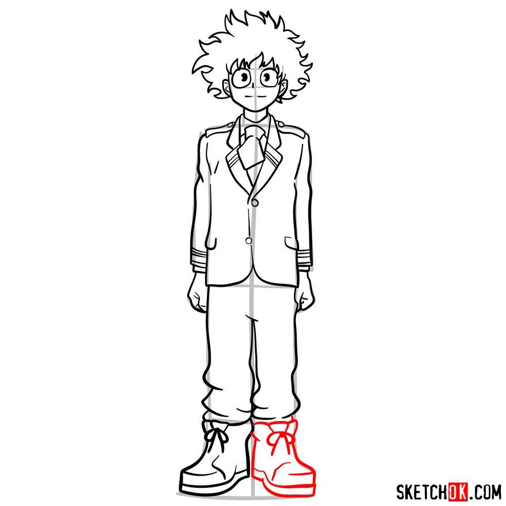 How to draw Izuku Midoriya in a student uniform - step 13