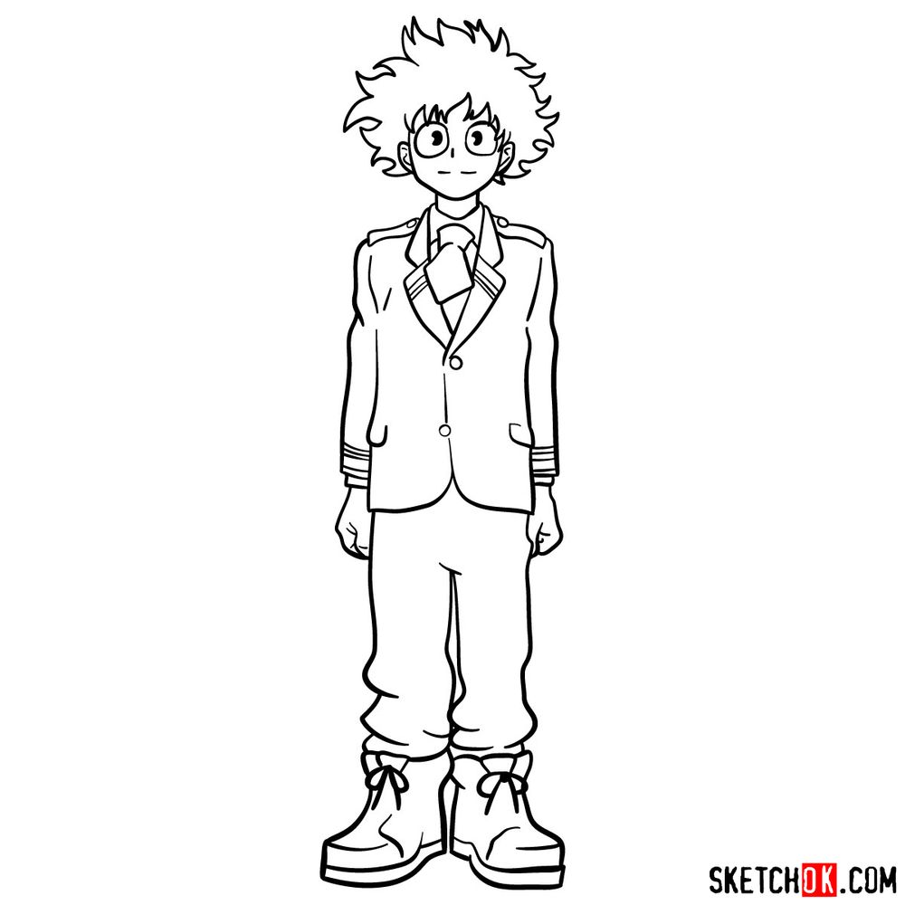 How to draw Izuku Midoriya in a student uniform - step 14