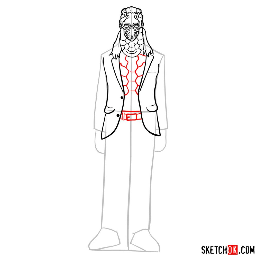 How to draw Nine (a villain from My Hero Academia) - step 09