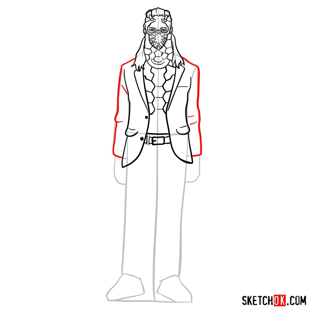 How to draw Nine (a villain from My Hero Academia) - step 10