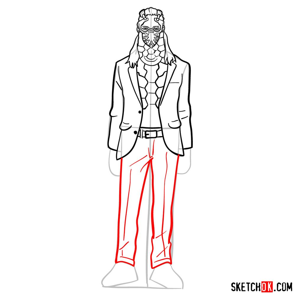 How to draw Nine (a villain from My Hero Academia) - step 11