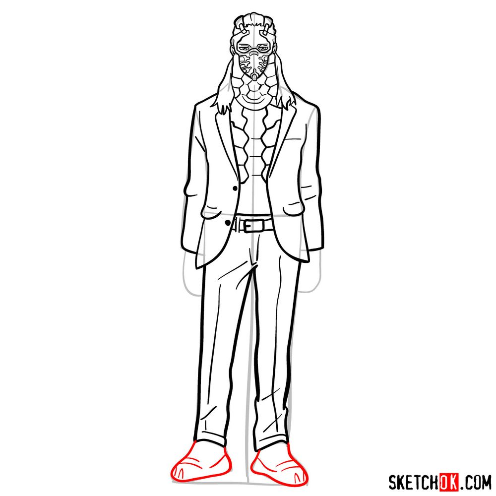 How to draw Nine (a villain from My Hero Academia) - step 12
