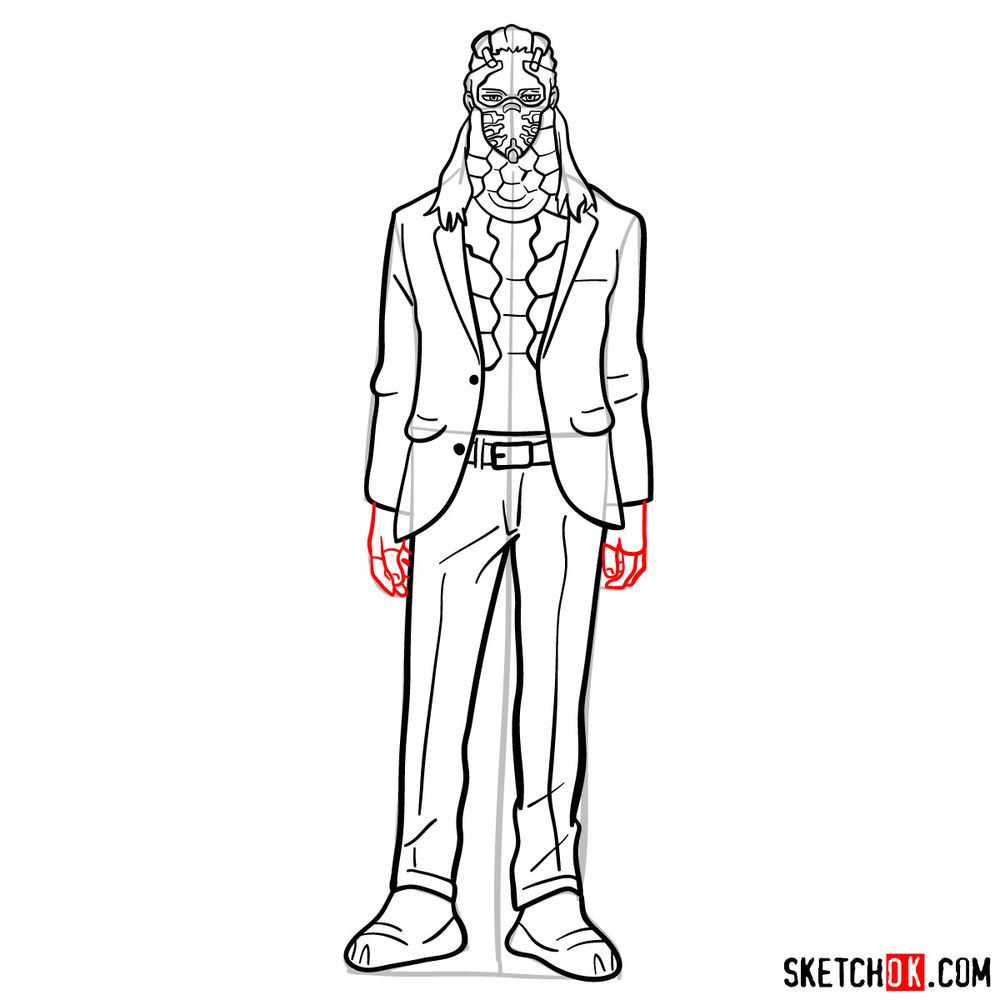 How to draw Nine (a villain from My Hero Academia) - step 13