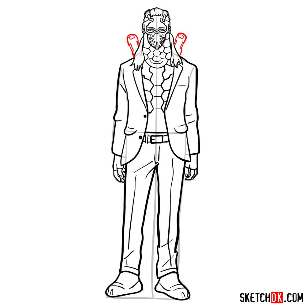How to draw Nine (a villain from My Hero Academia) - step 14