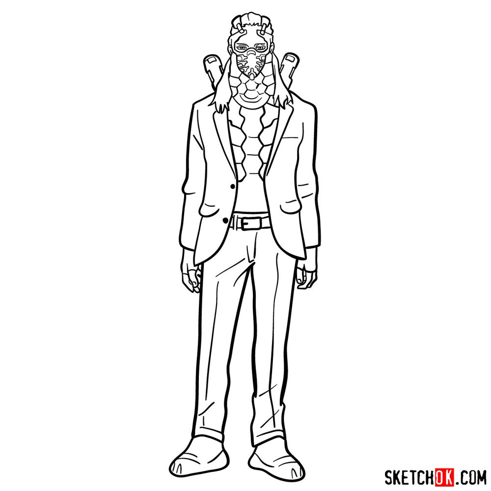 How to draw Nine (a villain from My Hero Academia) - step 15