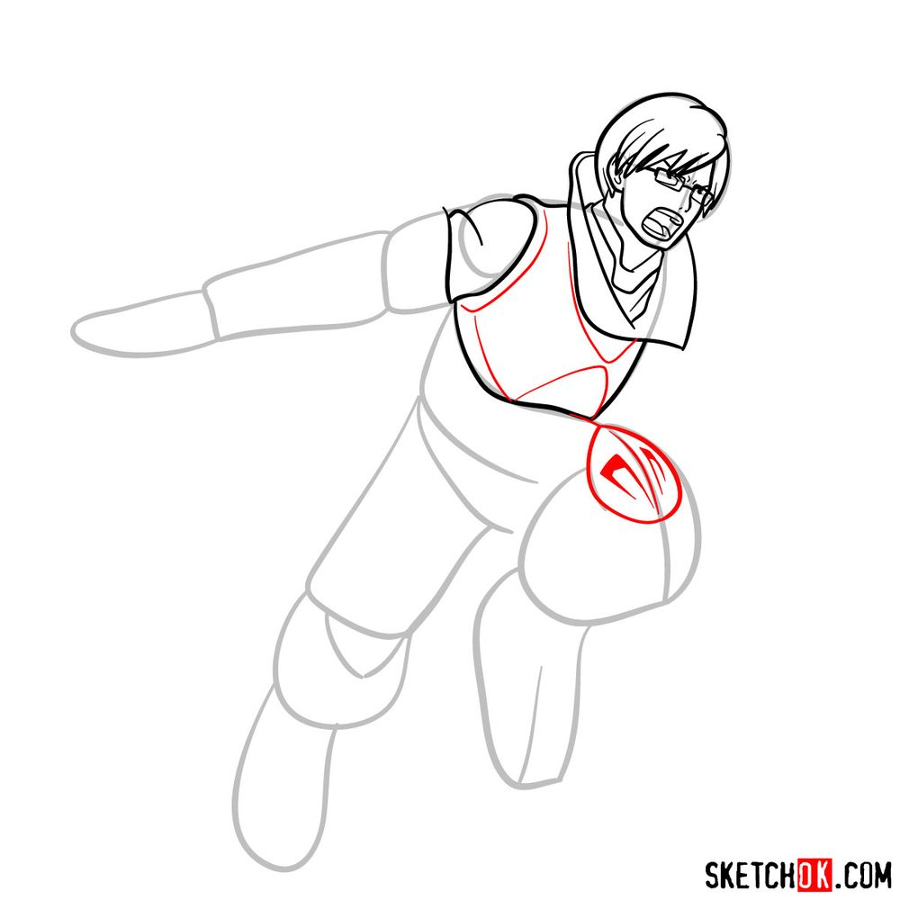 How to draw Tenya Ida in action pose - step 10
