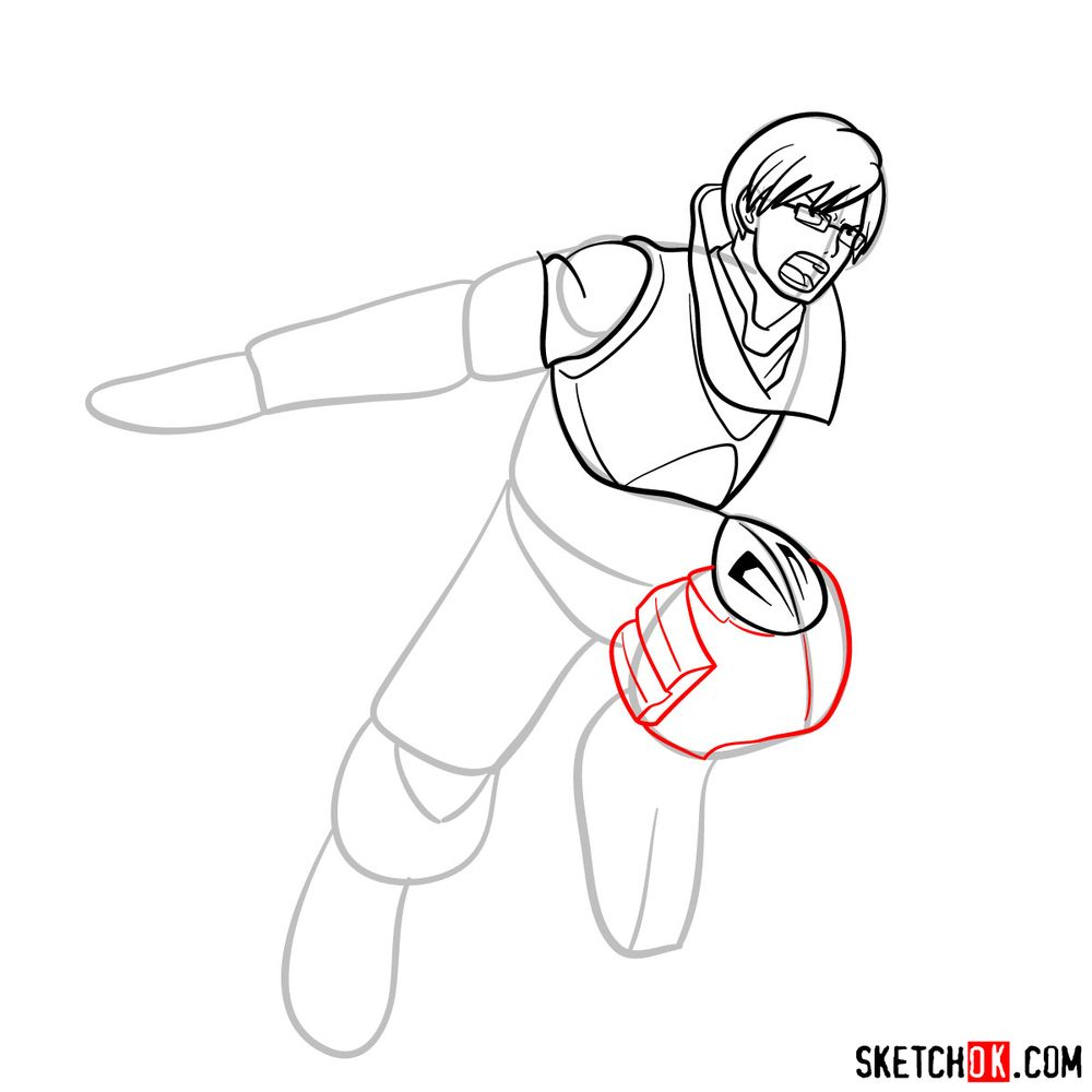 How to draw Tenya Ida in action pose - step 11
