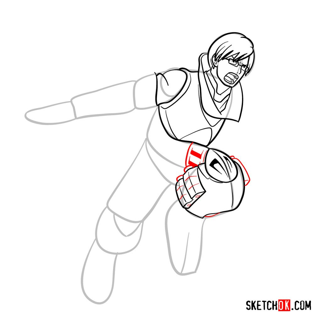 How to draw Tenya Ida in action pose - step 12
