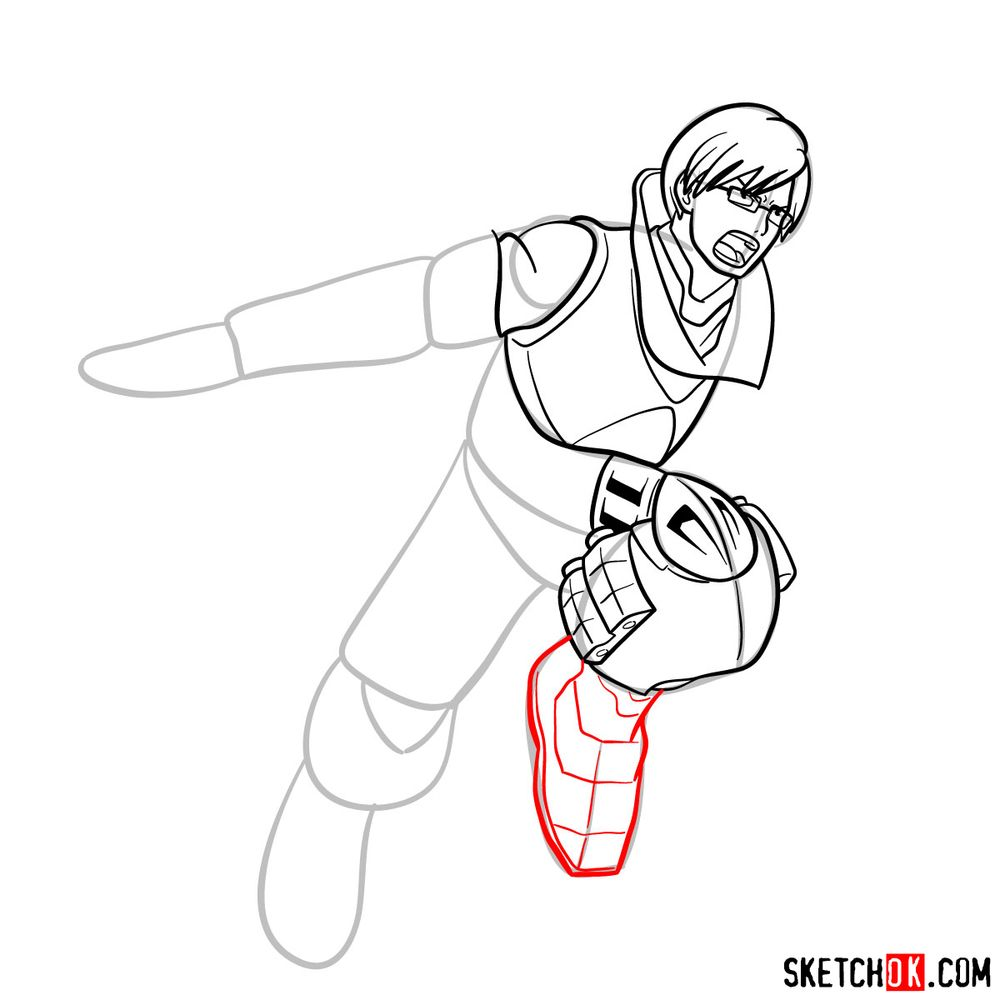 How to draw Tenya Ida in action pose - step 13