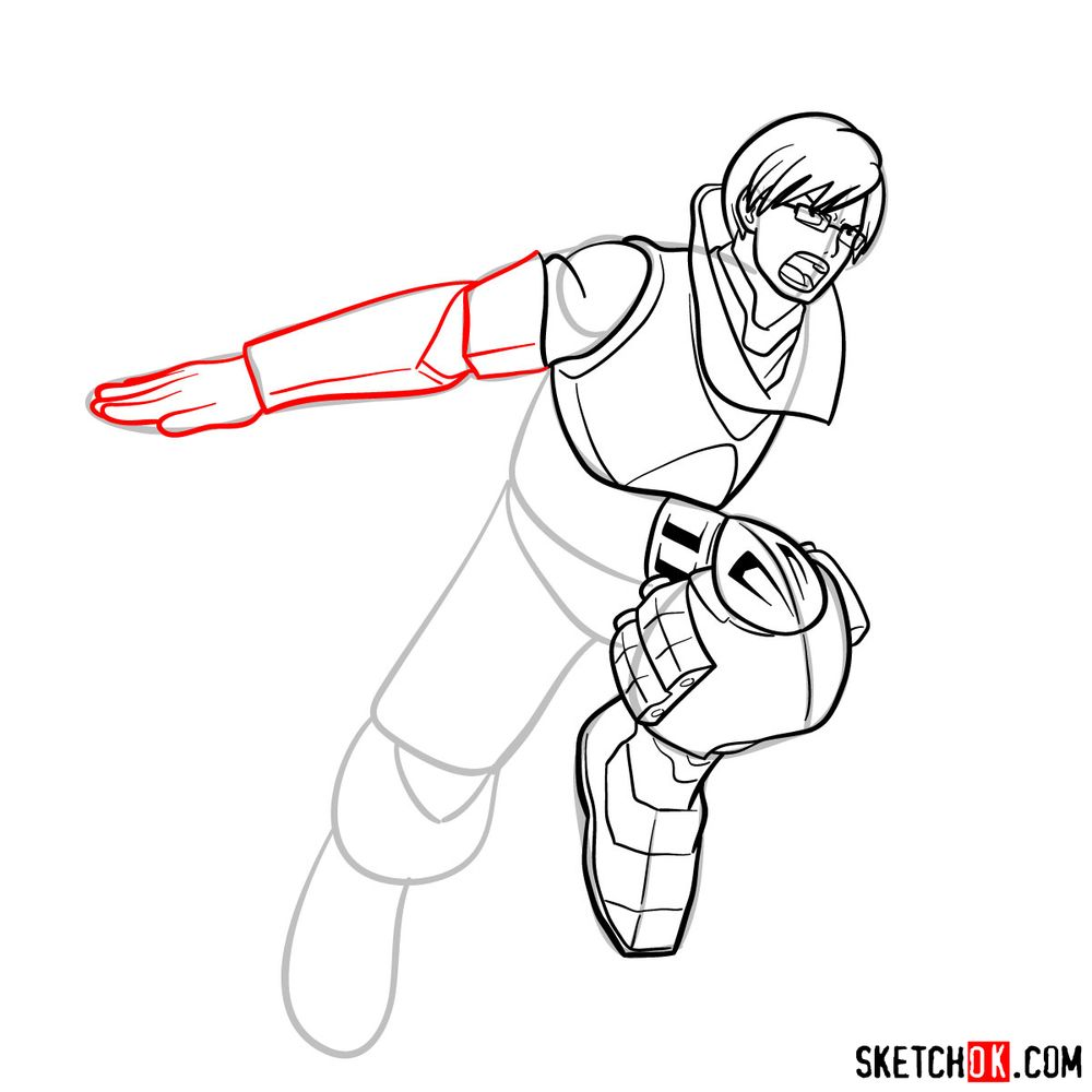 How to draw Tenya Ida in action pose - step 14