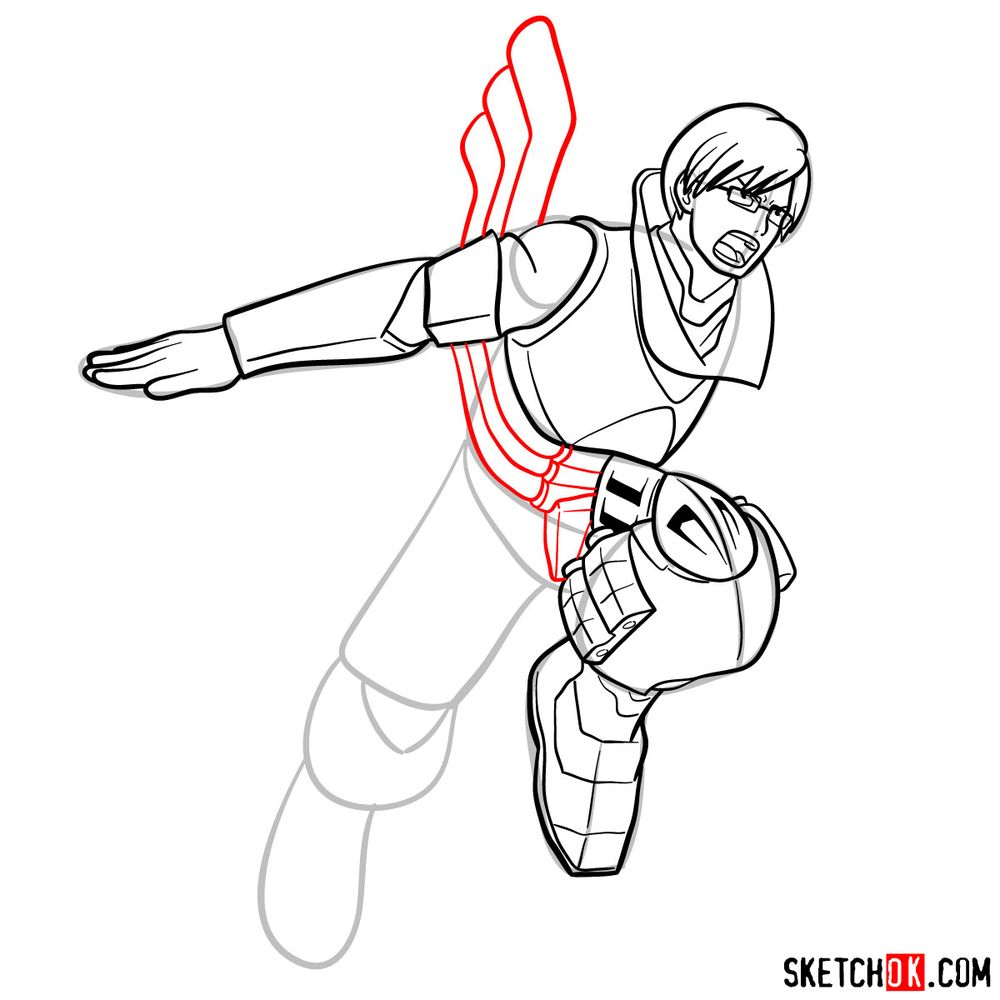How to draw Tenya Ida in action pose - step 15