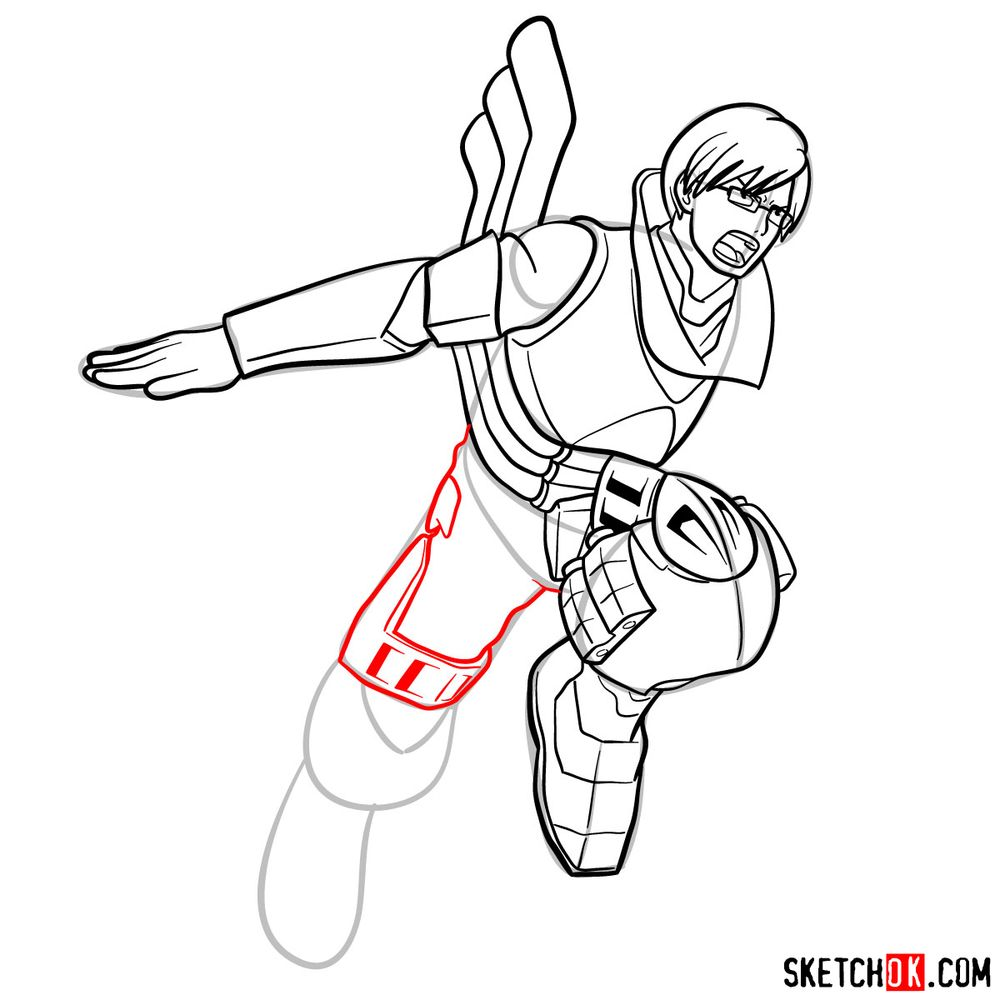 How to draw Tenya Ida in action pose - step 16